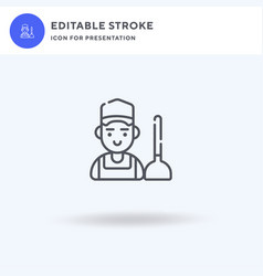 plumber icon filled flat sign solid vector image