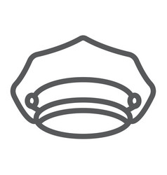 Police hat line icon police and uniform cap sign vector
