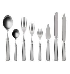 realistic cutlery stainless steel tableware vector image