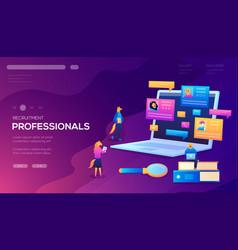 Recruitment professionals landing page vector