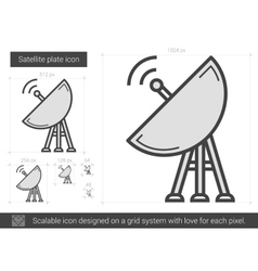 Satellite plate line icon vector
