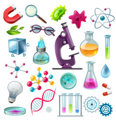Science icons cartoon set vector