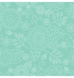 Seamless Floral Pattern On Green Background vector image