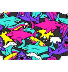 Seamless pattern with cartoon sharks urban vector