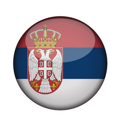 Serbia flag in glossy round button of icon serbia vector