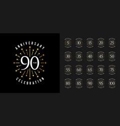 Set of anniversary logotype golden anniversary vector