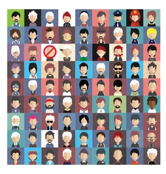 set people icons in flat style with faces 04 b vector image