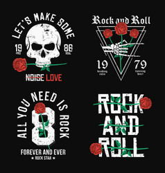 set rock and roll t-shirt design red roses vector image