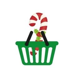 Shopping basket of merry christmas design vector