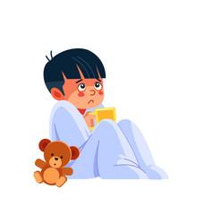Sick kid with a cup tea little sad boy has flu vector