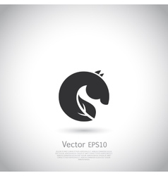 Sign or logo green horse vector