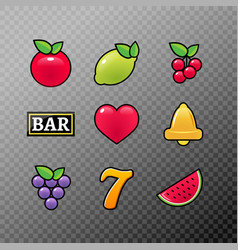 slot machine symbols icons set casino gambling vector image