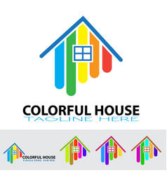 Smart house colored logo design abstract building vector