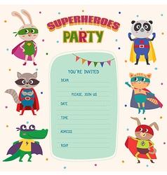 superhero card invitation with group cute vector image
