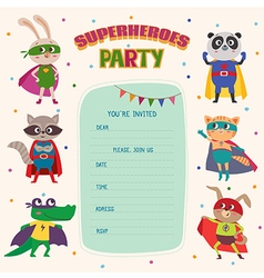 Superhero Card invitation with group of cute vector