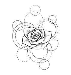 Tattoo with rose and circles on white background vector