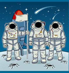 tintamarresque astronauts on moon pop art vector image