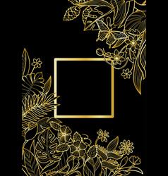 Tropical gold square frame vector