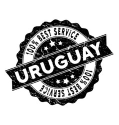 Uruguay best service stamp with distress texture vector