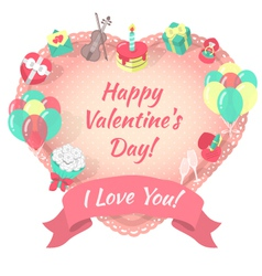 Valentines Day Card with Love Symbols vector