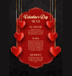 valentines day menu design vector image