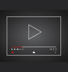 Video player social media player window bar vector