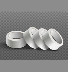 white realistic sticky tape roll stack isolated on vector image