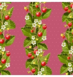 Wild strawberries seamless background vector image