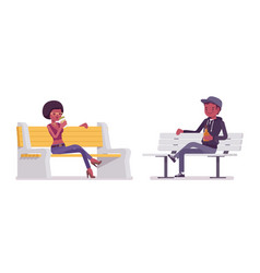 young black man and woman sitting on a white vector image