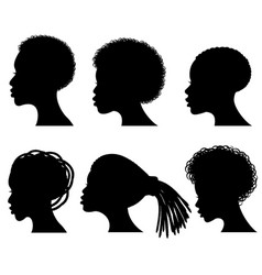 afro american young woman face black vector image vector image
