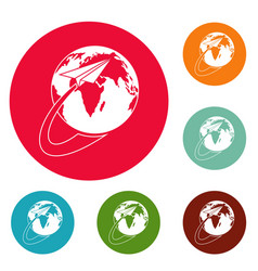 around the world icons circle set vector image vector image