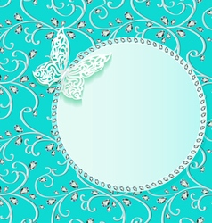 background card with flower lace and delicate butt vector image vector image
