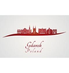 Gdansk skyline in red vector image vector image