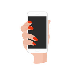 hand holding phone with vector image vector image