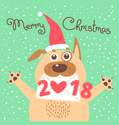 merry christmas 2018 card with dog funny puppy vector image