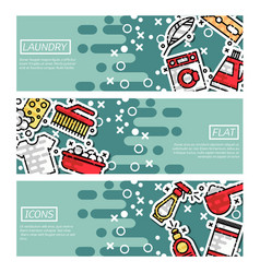 set of horizontal banners about laundry vector image