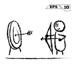 Stick figure archer shoots at the target hand vector