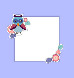Template for postcard invitation with owl vector