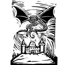 Dragon over Castle vector image