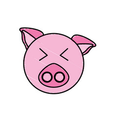 drawing piggy face animal vector image