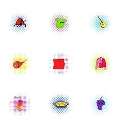 European spain icons set pop-art style vector