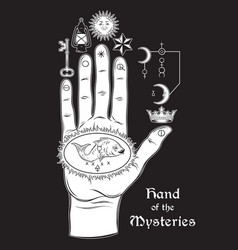 hand of the mysteries the alchemical symbol vector image vector image