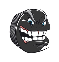 Hockey puck with an evil toothy grin vector image vector image