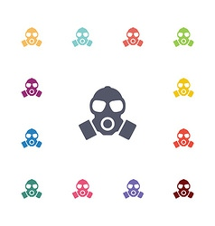 respirator flat icons set vector image