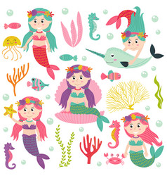 set of isolated mermaid with marine animals vector image vector image