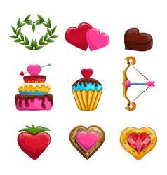Set of Valentines Day items design vector image vector image