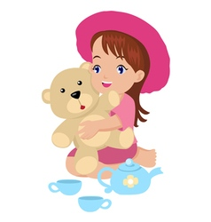 A girl playing with her toys vector image vector image