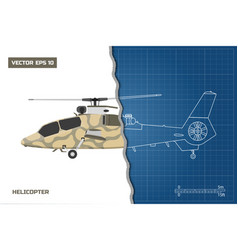 engineering blueprint of military helicopter vector image vector image