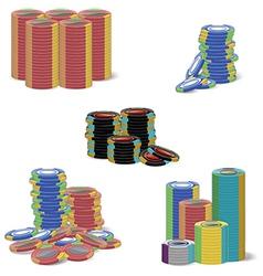 gambling chip stacks vector image
