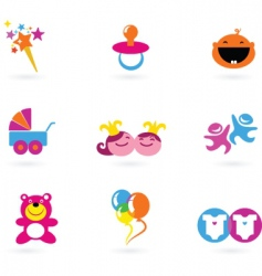 kids icons playing and toys vector image vector image